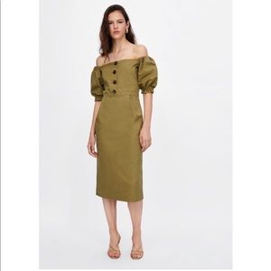 ZARA olive off the shoulder dress